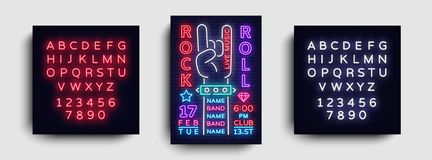 Rock Music Night Party flyer design template. Rock and Roll Neon Sign, Light Banner, Design Rock Concert Invitation vector illustration
