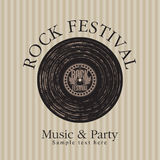 Rock music party. Square banner with vinyl record on a background of cardboard and labeled rock festival Royalty Free Stock Images