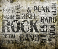 Rock music poster. Grunge rock music poster on brick wall Royalty Free Stock Image