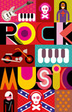 Rock Music Poster. Rock Music. Musical collage - vector illustration with text Rock Music Stock Photos
