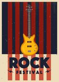 Rock music poster. Old school party. Cartoon vector illustration. Royalty Free Stock Image