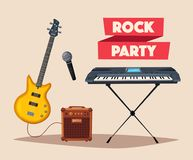 Rock music poster. Old school party. Cartoon vector illustration. Stock Photos