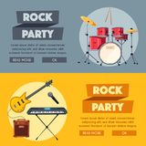 Rock music poster. Old school party. Cartoon vector illustration. Stock Photo