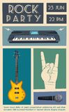 Rock music poster. Old school party. Cartoon vector illustration. Royalty Free Stock Images