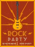 Rock music poster. Old school party. Cartoon vector illustration. Vintage style. For print and web. Live festival. For concert promotion in clubs, bars, pubs Royalty Free Stock Photography