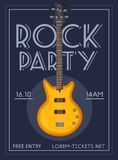 Rock music poster. Old school party. Cartoon vector illustration. Stock Images