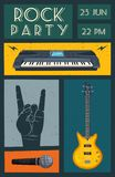 Rock music poster. Old school party. Cartoon vector illustration. Stock Image