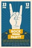 Rock music poster. Old school party. Cartoon vector illustration. Stock Photos