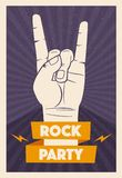 Rock music poster. Old school party. Cartoon vector illustration. Vintage style. For print and web. Live festival. For concert promotion in clubs, bars, pubs Stock Photo