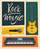 Rock music poster. Old school party. Cartoon vector illustration. Royalty Free Stock Photos