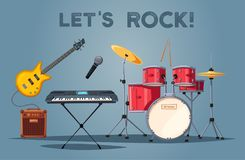 Rock music poster. Old school party. Cartoon vector illustration. Royalty Free Stock Photography
