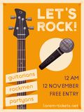 Rock music poster. Old school party. Cartoon vector illustration. Stock Photography
