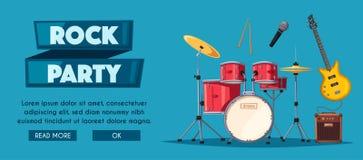 Rock music poster. Old school party. Cartoon vector illustration. stock illustration