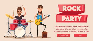 Rock music poster. Old school party. Cartoon vector illustration. Vintage style. For print and web. Live festival. For concert promotion in clubs, bars, pubs Royalty Free Stock Photos