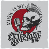 Rock Music Poster. With words therapy and punk skull vector illustration Royalty Free Stock Image