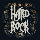 Rock music print. Hipster vintage label graphic design, rock-n-roll tee stamp design. t-shirt lettering artwork stock illustration