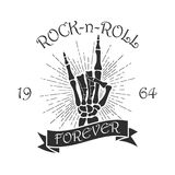 Rock music print with skeleton hand, sunburst and ribbon. Design for t-shirt, clothes, apparel. Vector illustration. Rock music print with skeleton hand Royalty Free Stock Photos