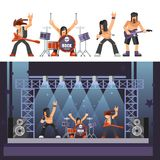 Rock music rockers band performing on stage singer, bass guitarist percussion vector icons. Rock music or rockers band performing on stage with guitarist Royalty Free Stock Image