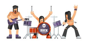 Rock music or rockers band performing on stage with guitarist. Percussion drummer man and singer. Rock concert performance stage and musical instruments vector Royalty Free Stock Photo