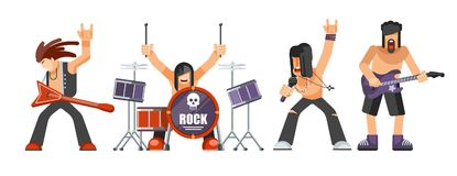 Rock music or rockers band performing on stage with guitarist. Percussion drummer man and singer. Rock concert performance stage and musical instruments vector Royalty Free Stock Photos