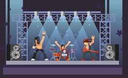 Rock music or rockers band performing on stage with guitarist. Percussion drummer man and singer. Rock concert performance stage and musical instruments vector Royalty Free Stock Image