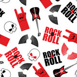 Rock music seamless pattern.  Guitar and skull. Wings and rock. Hand sign. Rock and roll background Royalty Free Stock Images