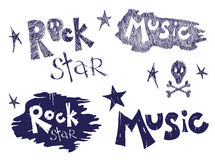 Rock music set. Vector illustration - a set of images on the theme of rock music royalty free illustration