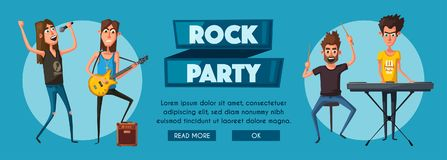 Rock music set. Old school party. Cartoon vector illustration. Royalty Free Stock Photography