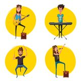 Rock music set. Old school party. Cartoon vector illustration. Royalty Free Stock Images