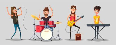 Rock music set. Old school party. Cartoon vector illustration. Vintage style. Live festival. Collection of characters. Musicians on stage Stock Image