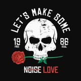 Rock music style t-shirt design. Skull is biting and holding red rose. Vintage slogan graphic for t-shirt print. With grunge background. Vector royalty free illustration