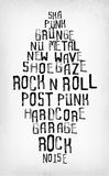 Rock music styles tag cloud, grunge oldschool typography stamps. Rock music styles tag cloud, grunge oldschool typography stamp style poster Stock Photography