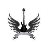 Rock music symbol. Electric guitar with wings and bow ribbon for Stock Photos