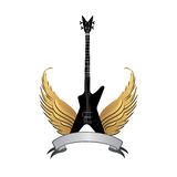 Rock music symbol. Electric guitar with wings and bow ribbon. Musical illustration with silhouettes of guitar, wings. Rock music symbol. Electric guitar with Royalty Free Stock Image