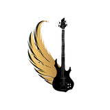 Rock music symbol. Electric guitar with wings. Muical instrument. Musical illustration with silhouettes of guitar, wings. Rock music symbol. Electric guitar with Stock Image