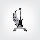 Rock music symbol. Electric guitar with wings. Musical instrument Royalty Free Stock Image