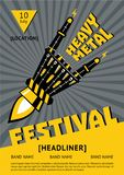 Heavy metal festival poster with robots hand. Rock music vector illustration. Rock music vector illustration. Heavy metal festival poster with mechanic robots Stock Image