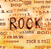 Rock music word background Stock Photography