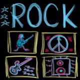 Rock music word  on black Stock Images