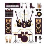 Rock musical instruments, vector illustrations Royalty Free Stock Photography