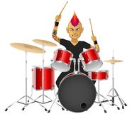 Rock musician drummer famously plays the drums. Isolated background. illustration Stock Images