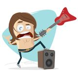 Rock musician with electric guitar and speaker. Clipart of a rock musician with electric guitar and speaker vector illustration
