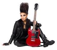 Rock musician with guitar Stock Photos
