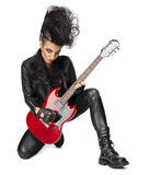 Rock musician in leather clothes Royalty Free Stock Image