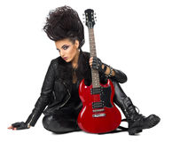 Rock musician in leather clothes Royalty Free Stock Photos