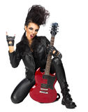 Rock musician in leather clothing. Isolated Royalty Free Stock Photography