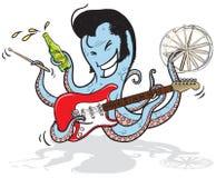 Rock musician octopus. Vector cartoon of an octopus musician playing guitar, holding drum sticks and beer Stock Photo