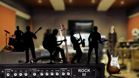 Rock It Musician Silhouettes in Studio 4K Static Camera