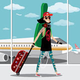 Rock musician. Vector illustration on background with airplane featuring rock musician at the airport with suitcase and musical instrument in its case Royalty Free Stock Photos