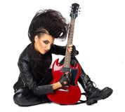 Rock musician woman. Isolated on white Royalty Free Stock Photo